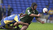 Reading, Berkshire, 20th April 2003,  ZURICH PREMIERSHIP RUGBY, The Madejski Stadium,  [Mandatory Credit: Peter Spurrier/Intersport Images],<br /> <br /> Zurich Premiership Rugby London Irish v Leeds<br /> Mike Worsley plays the ball from the tackle.