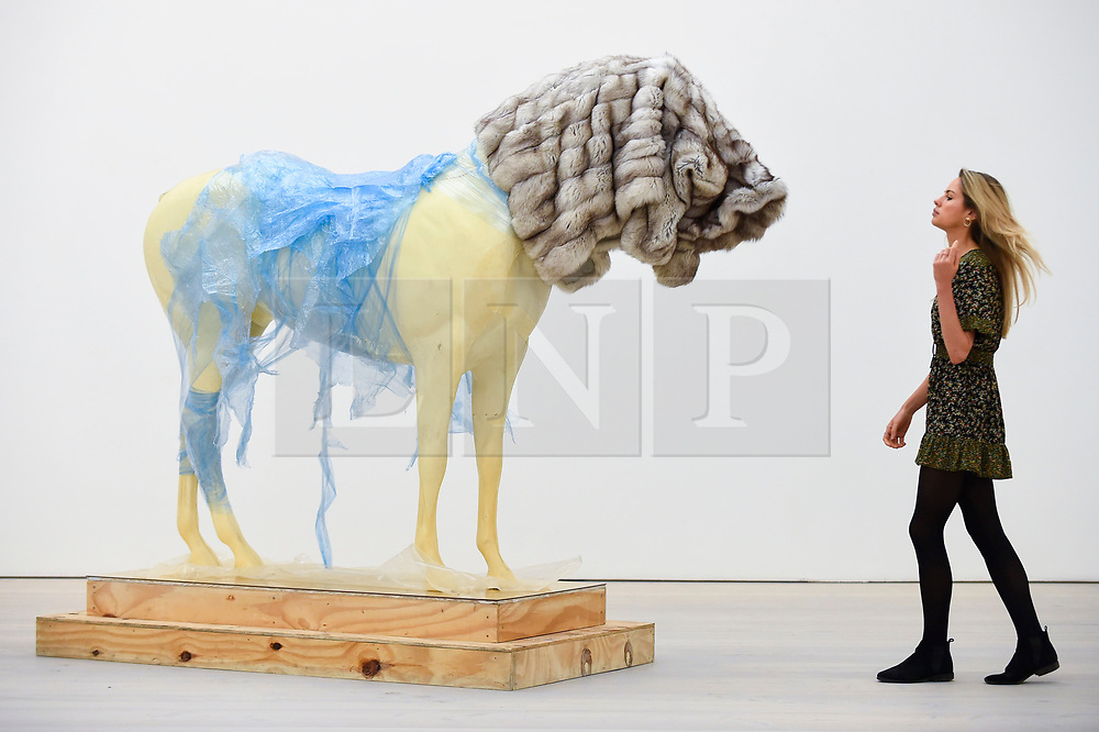 """© Licensed to London News Pictures. 27/09/2018. LONDON, UK. A staff member views """"It's Hard To Make A Stand"""", 2009, by Steve Bishop. Preview of """"Black Mirror"""", a major new exhibition featuring the work of 26 contemporary artists, at the Saatchi Gallery.  The show explores art's role in social satire and how political uncertainty has influenced art of recent years and runs 28 September to 13 January 2019.   Photo credit: Stephen Chung/LNP"""