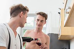 Homosexual couple having glass of wine in kitchen, smiling