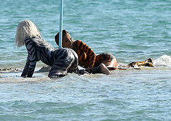 EXCLUSIVE: Rapper Cardi B. wears tiger body paint as she twerks on a sandbar during a video shoot in Miami. 03 Dec 2018 Pictured: Cardi B. Photo credit: MEGA TheMegaAgency.com +1 888 505 6342