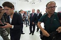 30 JUL 2013, BERLIN/GERMANY:<br /> Peer Steinbrueck, SPD Kanzlerkandidat, nach der Praesentation der SPD Wahlplakate zur Bundestagswahl 2013, Ballhaus Rixdorf Studios<br /> IMAGE: 20130730-01-018<br /> KEYWORDS: Peer Steinbrück, Wahlkampagne, Werbung, Präsentation, Grossflaechenplakate, Grossflächenplakate, Kampagne, Wir