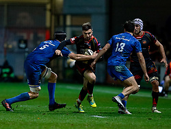 Jordan Williams of Dragons under pressure from Scott Fardy of Leinster<br /> <br /> Photographer Simon King/Replay Images<br /> <br /> Guinness PRO14 Round 10 - Dragons v Leinster - Saturday 1st December 2018 - Rodney Parade - Newport<br /> <br /> World Copyright © Replay Images . All rights reserved. info@replayimages.co.uk - http://replayimages.co.uk