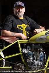 Cabana Dan Rognsvoog with his completely hand-built 1928 Harley-Davidson Peashooter hillclimber at the Handbuilt Show. Austin, Austin USA. Sunday, April 14, 2019. Photography ©2019 Michael Lichter.