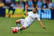 Jefferson Montero of Swansea city in action. Barclays Premier league match, Swansea city v Manchester city at the Liberty Stadium in Swansea, South Wales on Sunday 15th May 2016.<br /> pic by Andrew Orchard, Andrew Orchard sports photography.
