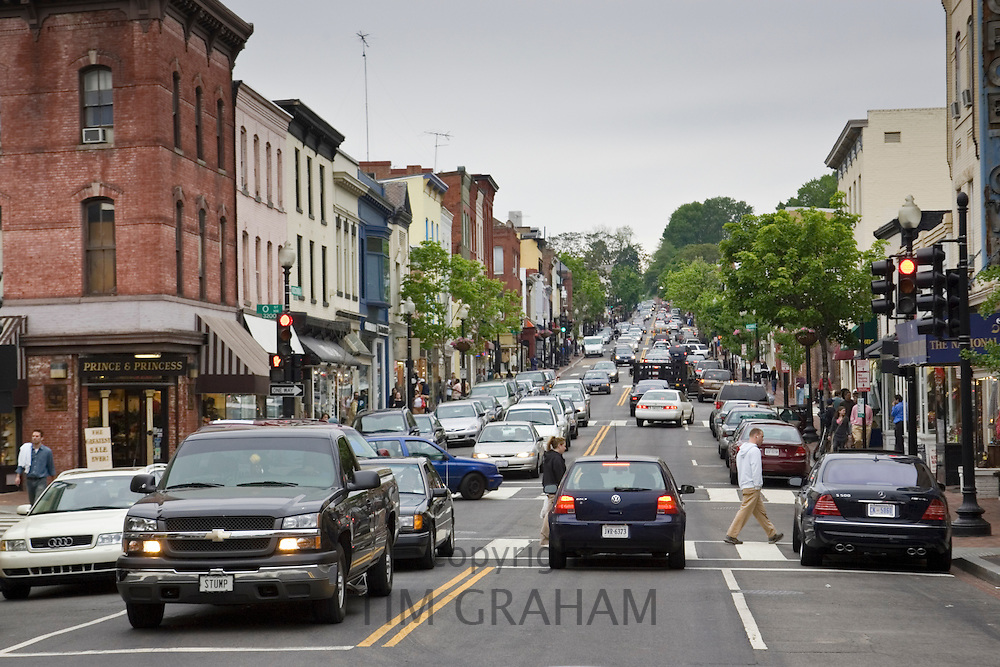 Busy street in Georgetown, Washington DC, USA