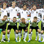 Germany's players (Left to Right) (Front Row) Philipp LAHM, Lukas PODOLSKI, Mario GOTZE, Thomas MULLER, Bastian SCHWEINSTEIGER, (Back Row) (Left to Right)  goalkeepers Manuel NEUER, Holger BADSTUBER, Per MERTESACKER, Sami KHEDIRA, Mario GOMEZ, Jerome BOATENG during their UEFA EURO 2012 Qualifying round Group A matchday 19 soccer match Turkey betwen Germany at TT Arena in Istanbul October 7, 2011. Photo by TURKPIX