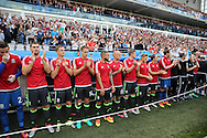 The Wales replacements line up ahead of the game. UEFA Euro 2016, group B , England v Wales at Stade Bollaert -Delelis  in Lens, France on Thursday 16th June 2016, pic by  Andrew Orchard, Andrew Orchard sports photography.