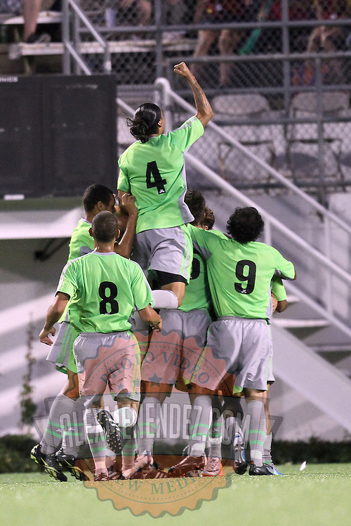 Players from Puerto Rico United celebrate scoring a goal during a United Soccer League Pro soccer match between Puerto Rico United and the Orlando City Lions at the Florida Citrus Bowl on April 22, 2011 in Orlando, Florida.  (AP Photo/Alex Menendez)