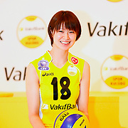 Vakifbank's new Japan player Saori Kimura seen during their presentation ceremony in Istanbul, Turkey on 10 September 2012. Photo by TURKPIX