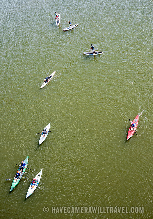 Aerial shot of kayakers on the Potomac River in Washington near Georgetown on a sunny summer day