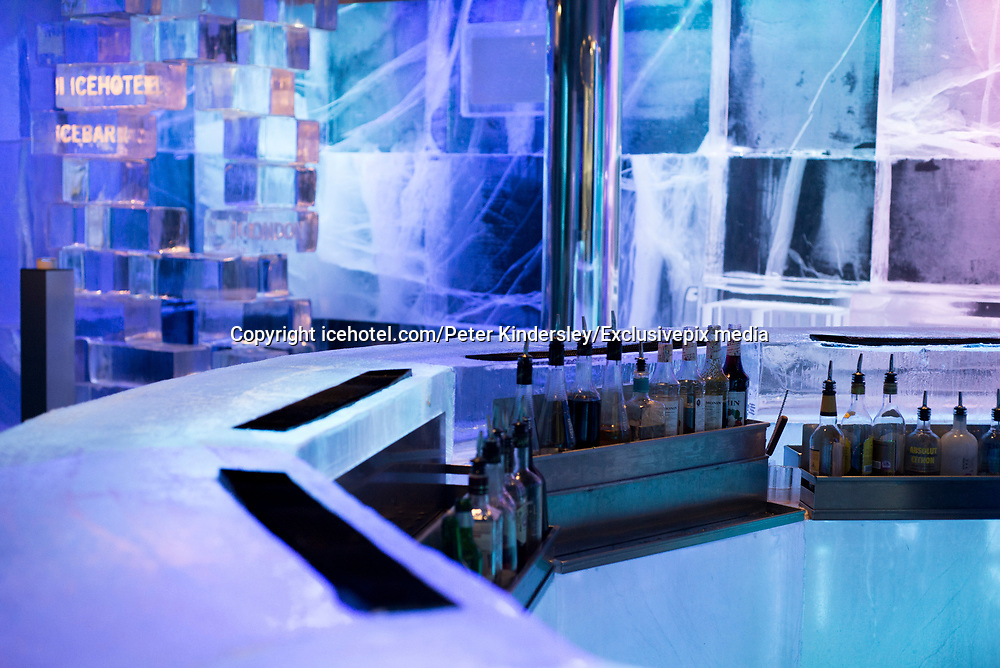 Ice Hotel amazing suites entirely made of ice and snow<br /> <br /> ICE HOTEL, 19 individually themed and hand crafted art suites have been newly designed by creatives from across the world – from a swedish artist who made a giant snow elephant in the room, to a french team who fused snow, ice and disco into a groovy sleeping experience. each year, the hotel creates a new series of artist-designed accommodation spaces that add to the existing landscape of  private rooms.<br /> <br /> the amount of snow used to create its more than 50 bedrooms, church and a bar would make 700 million snowballs, while the chandeliers alone are made from 1,000 hand cut ice crystals. thematically, this year's edition features flocks of animals from elephants to peacocks, patterns drawn from nature, architecturally-motivated designs and theater-inspired schemes.<br /> ©icehotel.com/Peter Kindersley/Exclusivepix media