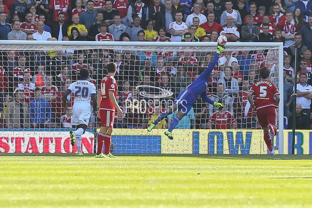 Fine save from Middlesbrough goalkeeper Dimitrios Konstantopoulos during the Sky Bet Championship match between Middlesbrough and Leeds United at the Riverside Stadium, Middlesbrough, England on 27 September 2015. Photo by Simon Davies.