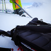 Tyler Hatcher skins up for another run in the Cascade backcountry.