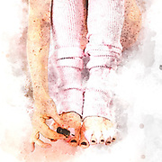 Digitally enhanced image of a Fetish model 26 years old with pink leg wormers doing her toe nails, Model relase available