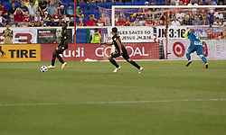 August 5, 2018 - Harrison, New Jersey, United States - Diego Rossi (9) & Adama Diomande (99) of LAFC attack during regular MLS game against Red Bulls at Red Bull Arena Red Bulls won 2 - 1 (Credit Image: © Lev Radin/Pacific Press via ZUMA Wire)