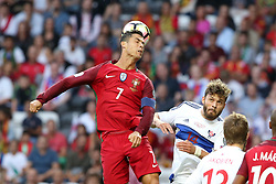 August 31, 2017 - Porto, Portugal - Portugal's forward Cristiano Ronaldo heads the ball during the 2018 FIFA World Cup qualifying football match between Portugal and Faroe Islands at the Bessa XXI stadium in Porto, Portugal on August 31, 2017. (Credit Image: © Pedro Fiuza/NurPhoto via ZUMA Press)