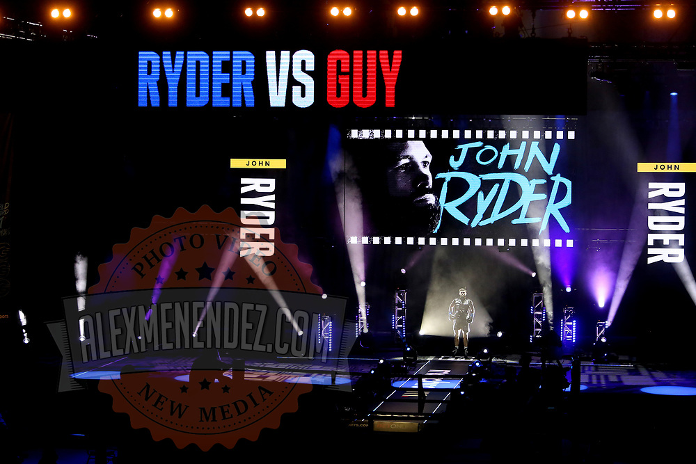 John Ryder walks to the ring to fight Michael Guy during the undercard bout of the Gennady Golovkin versus Kamil Szeremeta world title fight at the Seminole Hard Rock Hotel and Casino in Hollywood, Florida USA on 18, Dec 2020. Photo: Alex Menendez
