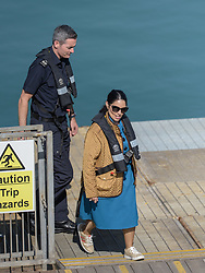 © Licensed to London News Pictures. 16/09/2021. Dover, UK.  Home Secretary visits Border Force officers at Dover Harbour in Kent. Migrants are continuing to attempt the crossing from France as the weather improves this week. Photo credit: Stuart Brock/LNP