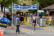 Lisa Dunne overall female winner during the run segment in the 2018 Hague Endurance Festival Sprint Triathlon
