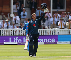 July 14, 2018 - London, Greater London, United Kingdom - England's Joe Root  celebrates his Century.during 2nd Royal London One Day International Series match between England and India at Lords Cricket Ground, London, England on 14 July 2018. (Credit Image: © Action Foto Sport/NurPhoto via ZUMA Press)