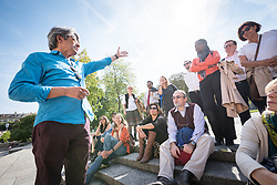 22 September 2017, Geneva, Switzerland: A group of colleagues from the World Council of Churches visit the Reformation Wall, in central Geneva. Odair Pedroso Mateus welcomed the group and gave an introduction to the history of the Wall.