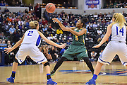 April 4, 2016; Indianapolis, Ind.; Christina Davis throws a pass to a teammate in the NCAA Division II Women's Basketball National Championship game at Bankers Life Fieldhouse between UAA and Lubbock Christian. The Seawolves lost to the Lady Chaps 78-73.