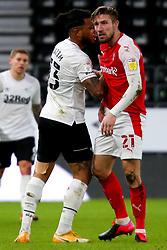 Colin Kazim-Richards of Derby County pushes Angus MacDonald of Rotherham United - Mandatory by-line: Ryan Crockett/JMP - 16/01/2021 - FOOTBALL - Pride Park Stadium - Derby, England - Derby County v Rotherham United - Sky Bet Championship