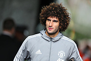 Marouane Fellaini of Manchester Utd arrives off the team coach ahead of the game. Premier league match, Swansea city v Manchester Utd at the Liberty Stadium in Swansea, South Wales on Saturday 19th August 2017.<br /> pic by  Andrew Orchard, Andrew Orchard sports photography.
