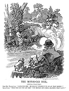 """The Motor-car Bill. (Abolition of speed limit.) Right Hon Walter Long. """"Confound him! He really oughtn't to go at that speed!!"""" Squire Punch. """"Then why do you let him? You should give him a machine that can't!"""""""