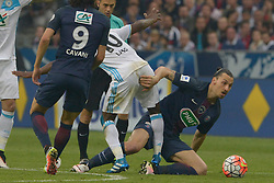 PSG's Zlatan Ibrahimovic doing a fist trick to Marseille's Lassana Diarra during the French Cup 2016 Final soccer match, Paris Saint-Germain (PSG) vs Olympique de Marseille (OM) at Stade de France, in Saint-Denis, near Paris, France on May 21st, 2016. PSG won 4-2. Photo by Henri Szwarc/ABACAPRESS.COM