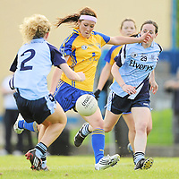 14 August 2010; Eimear Considine, Clare, in action against Rachel Ruddy, left, and Avril Cluxton, Dublin. TG4 Ladies Football All-Ireland Senior Championship Quarter-Final, Clare v Dublin, St Rynagh's, Banagher, Co. Offaly. Picture credit: Brendan Moran / SPORTSFILE *** NO REPRODUCTION FEE ***