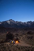 Van camping in the Alabama Hills, California.