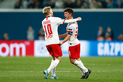 November 4, 2019, Saint Petersburg, USA: SAINT PETERSBURG, RUSSIA - NOVEMBER 05: midfielder Diego Demme of RB Leipzig and forward Emil Forsberg of RB Leipzig celebrate the score during UEFA Champions League match FC Leipzig at FC Zenit on November 05, 2019, at Saint Petersburg Stadium in Saint Petersburg, Russia. (Photo by Anatoliy Medved/Icon Sportswire) (Credit Image: © Anatoliy Medved/Icon SMI via ZUMA Press)
