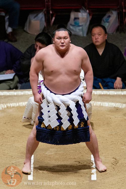 June 8, 2008; Los Angeles, California, USA; 69th Yokozuna sumo wrestler Hakuho Sho performs the Shiranui style dohyo-iri ring-entering ceremony on his debut as Yokozuna during the 2008 Grand Sumo Tournament at the Los Angeles Memorial Sports Arena.