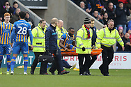 14 Lenell John-Lewis for Shrewsbury Town is stretchered off during the The FA Cup 3rd round match between Shrewsbury Town and Stoke City at Greenhous Meadow, Shrewsbury, England on 5 January 2019.