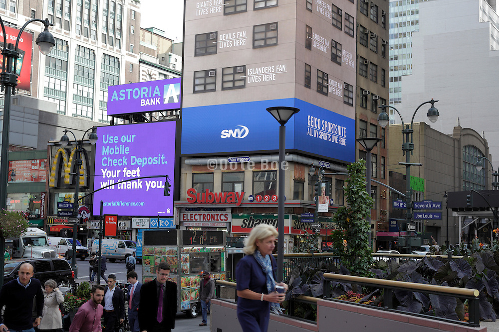New York City street scene with digital advertising
