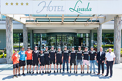 Team photo during press conference of Slovenian Nordic Ski Jumping team, on June 23, 2020 in Hotel Livada, Moravske Toplice, Slovenia. Photo by Ales Cipot / Sportida