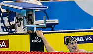 6/29/08 Omaha, NEB.Scott Usher look at his time in 100M Breaststroke during the Olympic Trials in Omaha..Chris Machian/Grand Island Independent