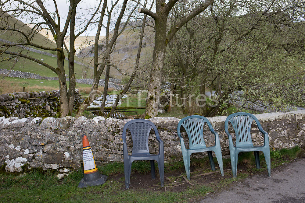 Plastic seating at a food trailer near Gordale Scar on 12th April 2017, in Malham, the Yorkshire Dales, England.