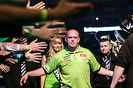 Michael van Gerwen wal on during the Betway Premier League Darts Play-Offs at the O2 Arena, London, United Kingdom on 19 May 2016. Photo by Shane Healey.