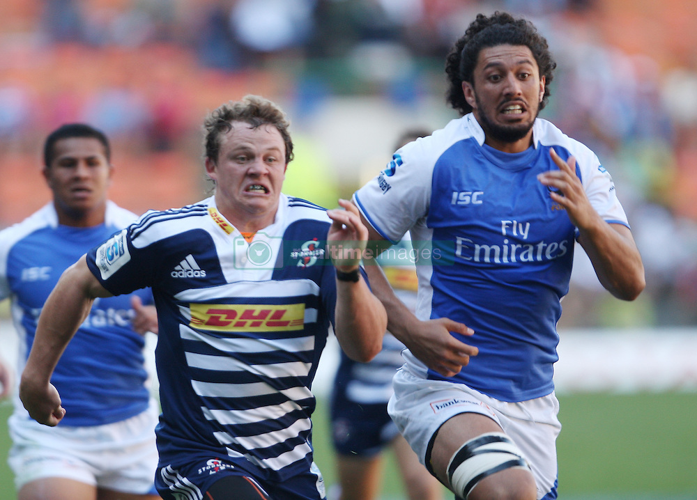 Deon Fourie of the Stormers and Sam Sykes of the Force chases after the ball during the Super Rugby (Super 15) fixture between DHL Stormers and the The Force played at DHL Newlands in Cape Town, South Africa on 26 March 2011. Photo by Jacques Rossouw/SPORTZPICS