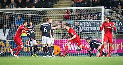 Rangers Derek McGregor cele scoring their goal. Falkirk 1 v 1 Rangers, Scottish Championship game played 27/2/2014 at The Falkirk Stadium .