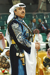 Prince Meteeb Bin Abdullah, son of Saudi Crown Prince and chief of the National Guard dances the traditional 'Ardha', a bedouin dance, with a golden gun, in Riyadh, Saudi Arabia, on March 2, 2005. Photo by Ammar Abd Rabbo/ABACA. | 74249_23