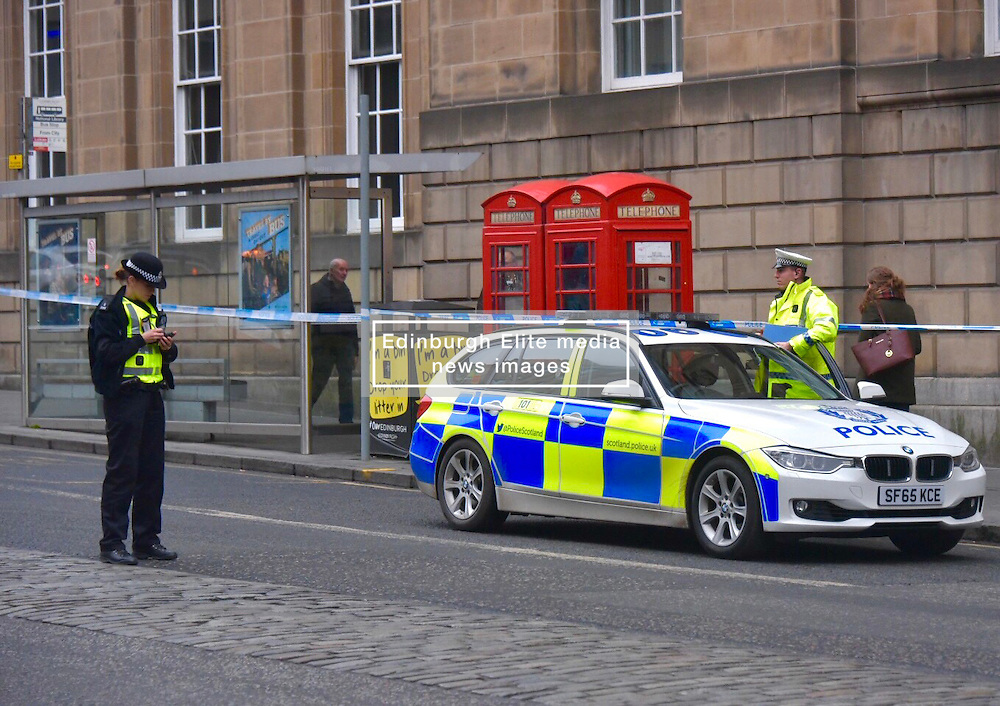 Pictured: <br /> <br /> Today Police were dealing with an accident at George IV Bridge and Victoria Street junction in Edinburgh where someone was run over.  Their condition is unknown at this point.<br /> <br /> Brain Anderson   EEm 9 Deemeber 2016