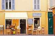 A market street in the old town with a shop selling various flea market things Sanary Var Cote d'Azur France