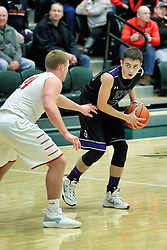 26 January 2019: El Paso Gridley (EP-G) Titans v GCMS (Gibson City Melvin Sibley) Falcons Championship boys game during the McLean County Tournament at Shirk Center in Bloomington Illinois