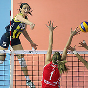 Fenerbahce Acibadem's Natasa OSMOKROVIC (L) during their Women's Volleyball CEV Champions League semi final match at Burhan Felek Arena in Istanbul, Turkey on 20 March 2011. Photo by TURKPIX