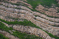 Hillsides of sedimentary rock formations at the Xuan Kong Si, or Hanging Temple, 1800 years old, Beiyue Hengshan Mountain, Datong, Hunyuan County, Shanxi Province, China