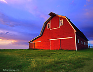 Red barn at sunrise near Williston, North Dakota, USA