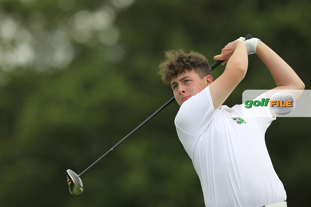 Fionn Hoare (Roscommon) on the 1st tee during the Final of the AIG Jimmy Bruen Shield in the AIG Cups & Shields Connacht Finals 2019 in Westport Golf Club, Westport, Co. Mayo on Sunday 11th August 2019.<br /> <br /> Picture:  Thos Caffrey / www.golffile.ie<br /> <br /> All photos usage must carry mandatory copyright credit (© Golffile | Thos Caffrey)
